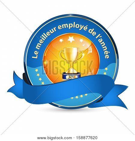 Best Employer of the year (French language: Le meilleur employeur de l'annee) - business elegant icon / ribbon award distinction for companies.