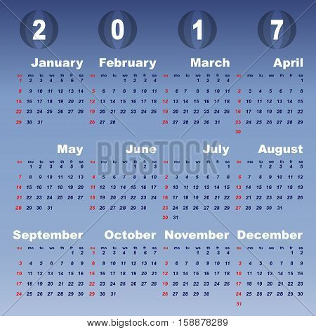 2017 calendar on blue gradient background stock vector