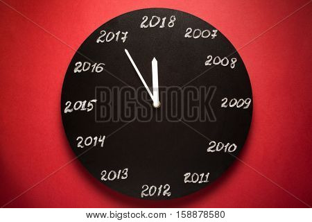 Concept of clock on the eve of 2018. Red background.