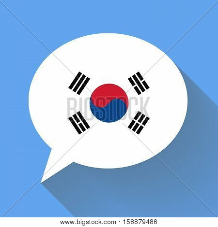 White speech bubble with Korea flag and long shadow on blue background. Korean language conceptual illustration
