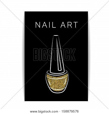 Nail polish banner with golden glitter texture. Manicure flyer with shiny sparkles. Fashion template for beauty salon or nail artist design. For coupon and gift certificate. Vector EPS10 illustration.