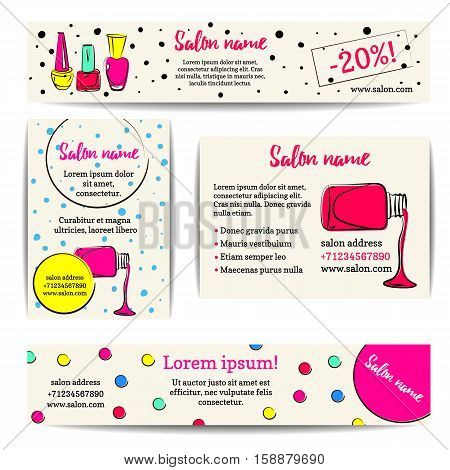 Nail polish banner. Vector set of manicure flyers and coupons. Beauty salon or nail artist design. Isolated fashion templates collection. Colorful sketchy style. Hand drawn  illustration. EPS10.