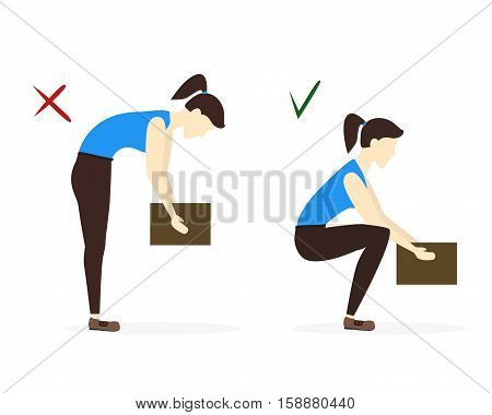Lifting Box Correct and Incorrect Position. Colorful Poster with Girl. Flat Design Style. Vector illustration