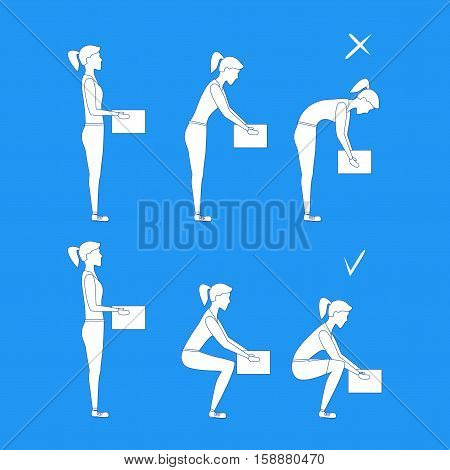 Lifting Box Correct and Incorrect Position Girl White Silhouette. Poster with the Instruction. Flat Design Style. Vector illustration
