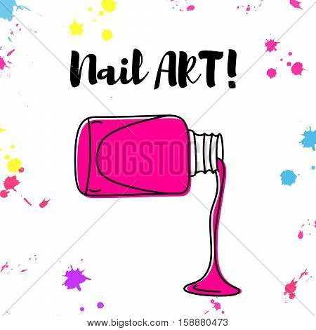 Nail polish spill poster with colorful splashes and text