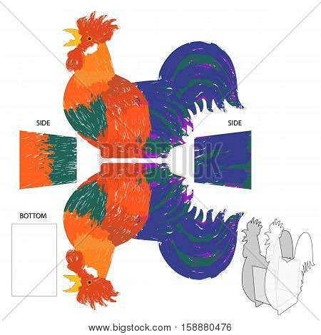 Gift on New Year Rooster box for tea bags or candy. For cut creation in using a plotter, laser or scissors. Vector Illustration