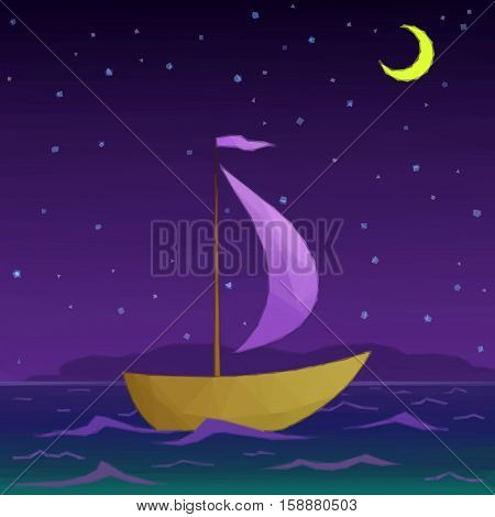Ship Floats under Sail in the Moonlight Night Sea, Low Poly. Vector
