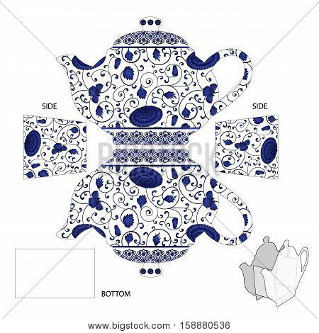 Gift Teapot box with pottery chinese ornament for tea bags or candy. For cut creation in using a plotter, laser or scissors. Vector Illustration