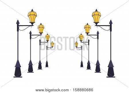 Street Lamp Post Set. Urban Light Pole Road Perspective Lines. Flat Design Style. Vector illustration