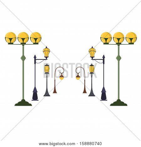 Street Lamp Post Set. Urban Light Pole Old Vintage Style. Flat Design Style. Vector illustration