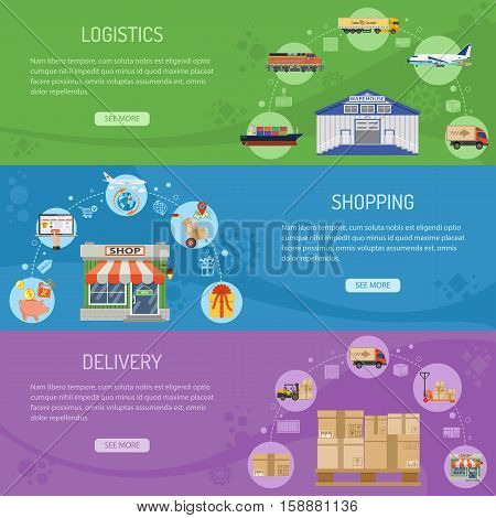 Logistics delivery and shopping Horizontal Banners with Flat Icons delivery, warehouse, storage and online shopping. vector illustration