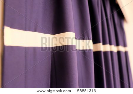 Elegant curtain and purple drapes, luxury curtain