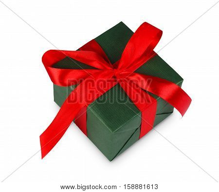Gift box wrapped with green paper and red satin ribbon, isolated on white background. Modern present for any holiday, christmas, valentine or birthday