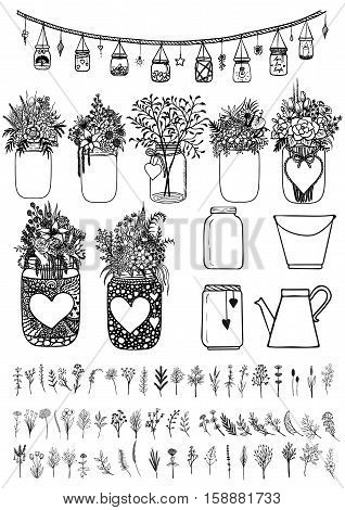 Big set of hand drawn mason jars and wild flowers for design element. Stock Vector