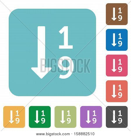Ascending numbered list flat icons on simple color square background.