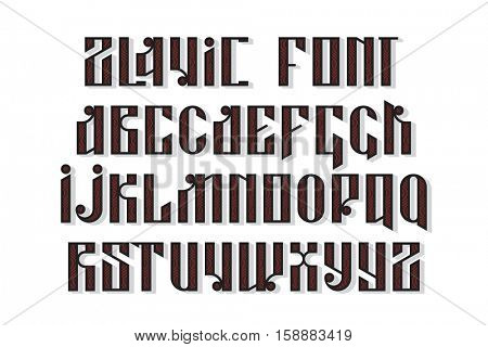 Slavic font. Custom type vintage letters on a dark background and sample text. Stock vector typography for labels, headlines, posters etc.