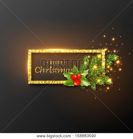 Christmas design realistic gold frame with glowing lights and golden text new year fir branches decoration with holly. Black color background. Vector illustration.