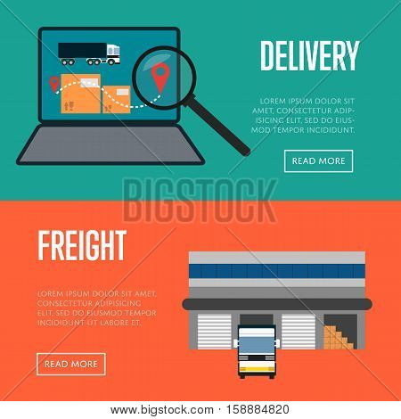 Delivery and freight shipment banners vector illustration. Freight commercial truck near warehouse, laptop with delivery map icons. Logistics and cargo transportation, postal service and distribution