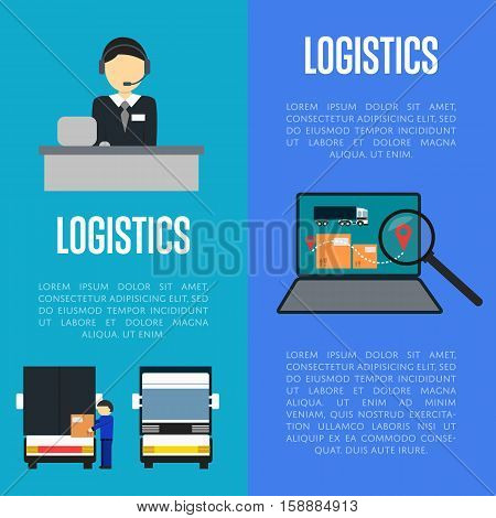Logistics and freight transportation banners vector illustration. Services operator coordinating cargo transportation, laptop with delivery map. Postal service and distribution, local delivery company