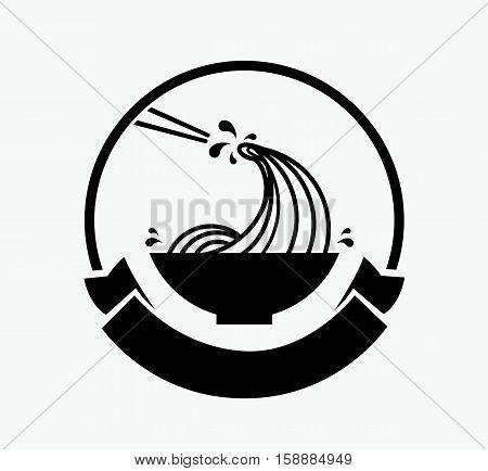 noodle wave in bowl with chopstick logo design