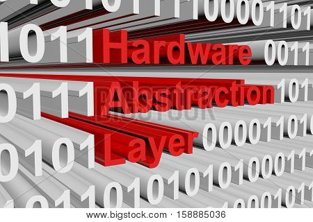 Hardware Abstraction Layer in the form of binary code, 3D illustration