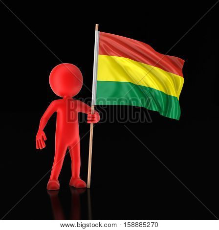 3D Illustration. Man and Bolivian flag. Image with clipping path