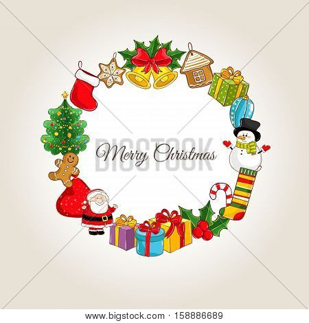 Christmas celebrating attributes. Santa, gifts, sweets, xmas tree, bells, holly, snowman, stocking vector illustrations. Merry Christmas and Happy New Year concept for greeting cart, party invitation