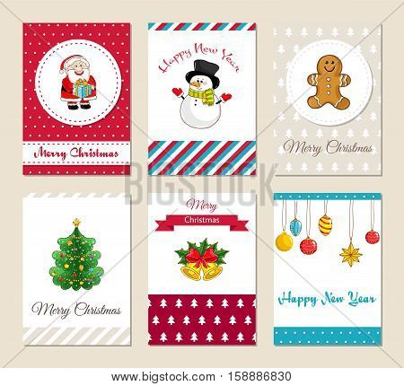 Christmas greeting cards and Xmas party invitations set. Colorful Merry Christmas and Happy New Year concepts with Santa, snowman, gingerbread cookies, Christmas tree, bells, toys vector illustrations