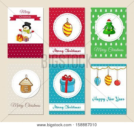 Christmas greeting cards and Xmas party invitations set. Colorful Merry Christmas and Happy New Year concepts with cute snowman with gifts, christmas tree toys, wrapped gift vector illustrations