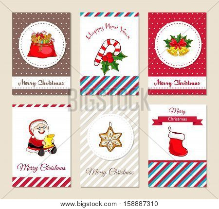 Christmas greeting cards and Xmas party invitations set. Merry Christmas and Happy New Year concepts with sack full of gifts, sock, bells, sweets, holly, Santa with wish list vector illustrations