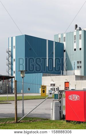 Haderslev, Denmark - May 29, 2016: Du Pont factory. DuPont is one of America's most innovative companies and it is an American chemical company.