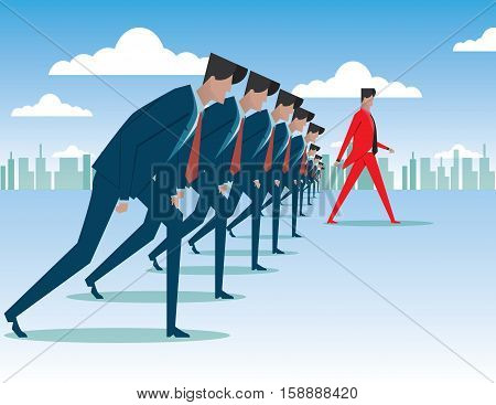 Competition Concept With Many Businessmen About To Run And One Walking Ahead Of Them On Foggy City B