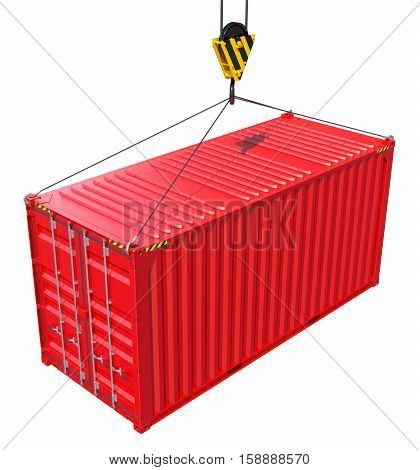 Cargo container hanging hook. White background. 3D rendering