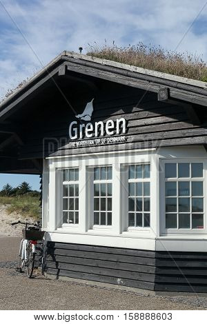 Wooden house at the tip of Grenen, the northmost point of Denmark