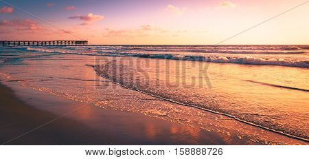 Impressive seascape of Ocean Beach in San Diego California. Sunset.