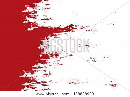 Rectangular ragged background painted rough brush. Grunge texture. Red.