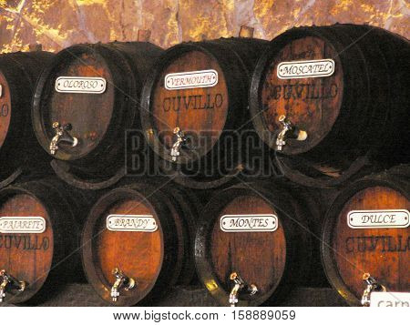 A Collection of sherry casks in Malaga bar