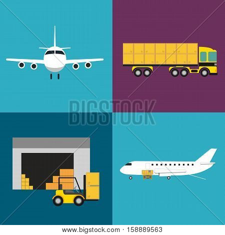 Commercial air shipping service icons set isolated vector illustration. Forklift truck with boxes, loading cargo in jet airplane and freight truck icons. Worldwide logistics, delivery transportation.