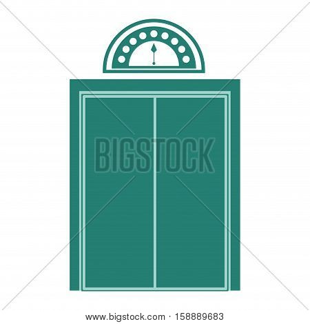 silhouette elevator with green door closed vector illustration