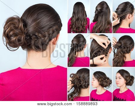 hairstyle twisted bun to one side and braid on curly hair. Hairstyle tutorial for long curly hair. Hairstyle for party tutorial step by step. Hair tutorial