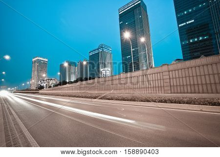 City Building Street Scene And Road Tunnel Of Night Scene