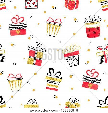 Seamless vector gift pattern red and golden gift boxes on white background.