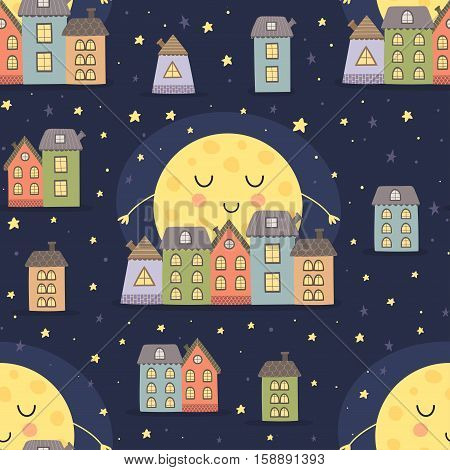 Good night seamless pattern with sleeping moon and cartoon city landscape. Vector illustration