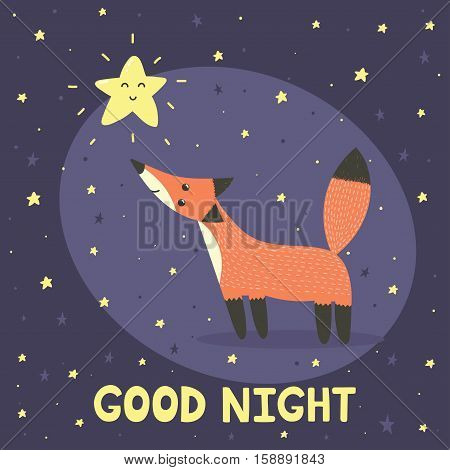 Good night card with cute fox and star. Vector illustration