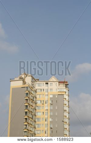 tall flat building in shenyang city china poster