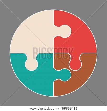 Circular colorful puzzle icon vector logo illustration
