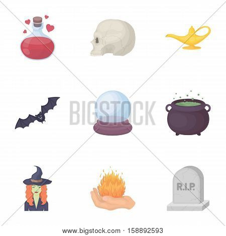 Black and white magic set icons in cartoon style. Big collection of black and white magic vector symbol stock