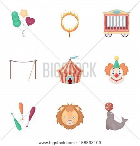 Circus set icons in cartoon style. Big collection of circus vector symbol stock