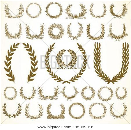 Set of vector wreaths and ornaments. Easy to edit.