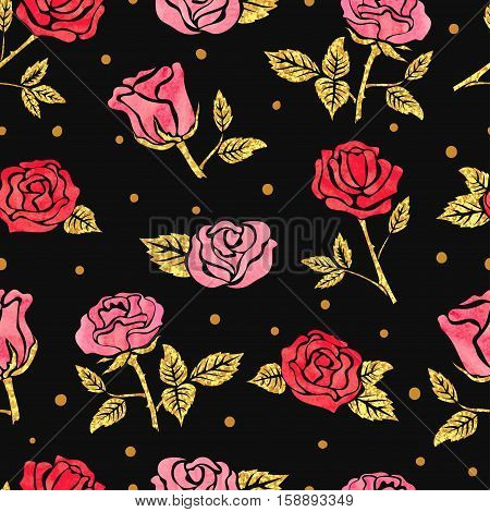 Seamless roses pattern. Vector dark floral background.